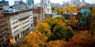 View of Boston in the fall from the 73 Tremont Street building.